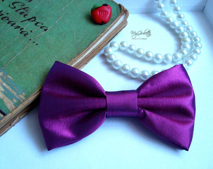 Purple Bow Tie, Green Bow Tie, Purple, Green, Personalised Gift, Gift for Him, Bow Tie Brooch Pin, Made in Italy Bow Tie, Bowtie Baby Shower