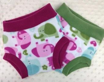 Fleece Soaker Cloth Diaper Cover - Cute Elephants