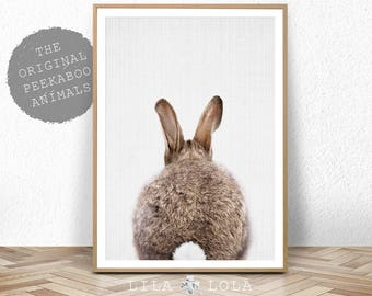 Rabbit Tail Print, Nursery Decor, Woodland Animal Wall Art, Baby Shower, Digital Download Large Printable Poster, Bunny Butt, Girls Room Art