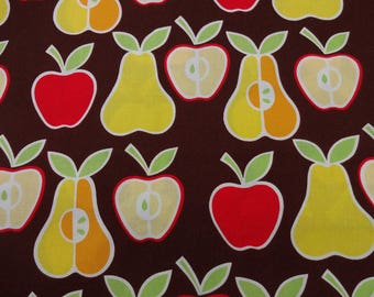 "ALEXANDER HENRY"" Apples & Pears Fabric  * BROWN * Boutique Designer Fabric for quilting, sewing, etc."