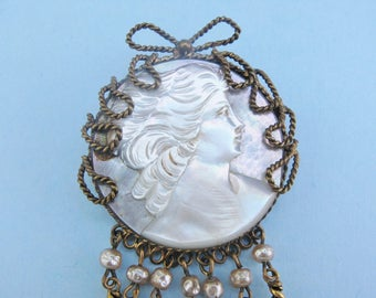 Italian MOP Cameo Brooch Large Mother of Pearl Carved Profile of Beautiful Woman With Twisted Brass Frame Dangles Faux Pearls Vintage Italy