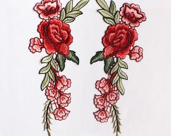 A Pair Embroidered Red Flower Applique Patch,Vintage Floral Patch for Clothing or Dress Decoration Appliques
