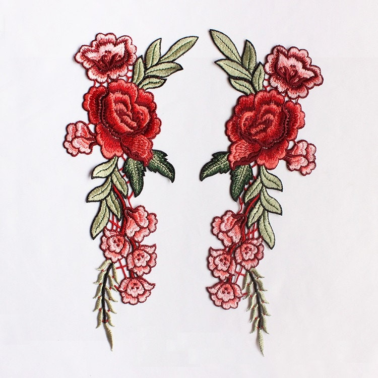 A pair embroidered red flower applique patchvintage floral