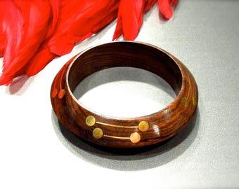 VINTAGE: Wood Inlayeed Brass Bangle - Handcrafted Bangle - Bracelet - Boho - Gipsy - Hippie - Ethnic - India - SKU 12-F6-00008443