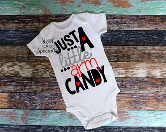 Just a Little Arm Candy Boys Valentines Day Shirt, Baby and Youth Sizes,Boys Valentine Shirt,Boys Shirts,Party Shirt,Cupid
