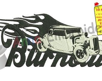 Car Hot Rods Burnout Embroidery Design- American Hot Rod-Vintage Car Hot Rod -Machine Patterns-Instant Download-PES