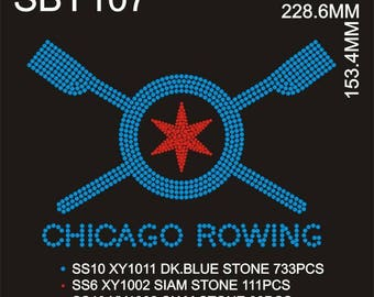 Rowing Chicago Rhinestone V Neck T Shirt