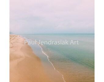 Grand Haven, Michigan Lake Michigan Coastline Beach Print on Photo Paper, Aluminum or Canvas
