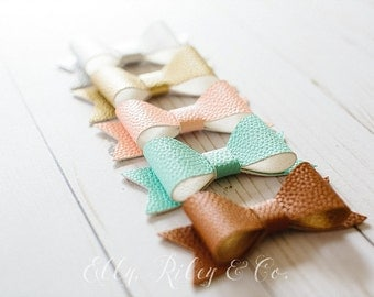 Faux Leather Elly Bows - Baby Bows, Newborn Bows