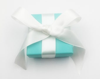 Tiffany & Co. Blue Square Jewelry Box with Ribbon