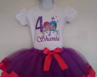 Shimmer and Shine ribbbon tutu birthday outfit