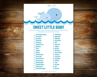 Baby Shower Game - Sweet Little Baby Game - Boy Baby Shower - Baby Whale Baby Shower - Candy Bar Baby Shower Game - Printable Game - 0026