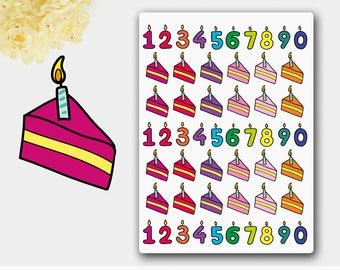 Birthday Cake Stickers, Cake Stickers, Birthday Candle Reminder, Birthday Candle Sticker , Candle Planner,  Cake Planner