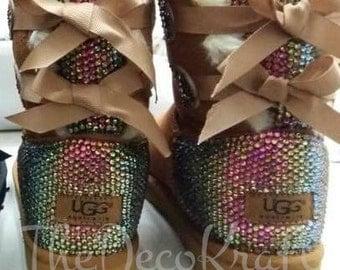 Bling Ugg Bailey Bow, Women's Custom Chestnut Ugg Boots Swarovski Crystal Bling Australian Fur Boots, Snow Boots, Bling Boots