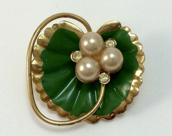 Vintage Gold Plated Lily Pad Brooch with Faux Pearls and Rhinestones