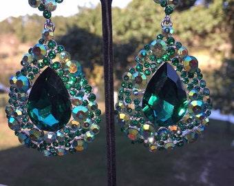 Emerald Earrings | 202-7 | Big Emerlad Earrings | Emerald Pageant Earrings| Emerald Prom Earrings| Chunky Emerlad Earrings