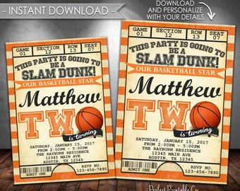Basketball Invitation, Basketball Birthday Party Invitation, Basketball Invite, Two, 2nd, Second, Instant Download, Editable PDF #547