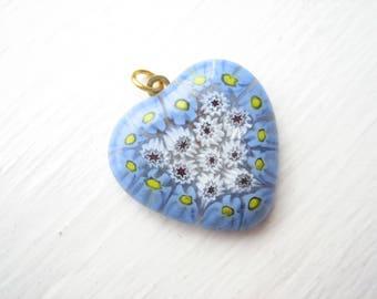 Millefiori heart pendant, millefiori pendant, blue heart pendant, blue glass heart, blue and white, periwinkle blue, glass heart pendant