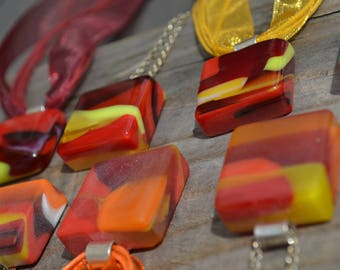 Mixed reds and yellows Fused Glass Pendants