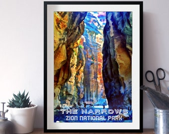 FREE SHIPPING 8x10 Narrows Zion National Park WPA Style Print