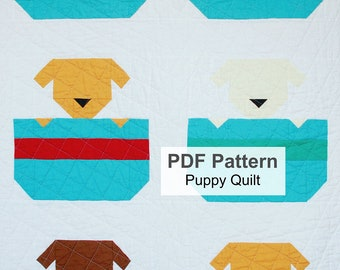 PDF Baby Quilt Pattern, Puppy Quilt Pattern, Dog Sewing Instructions, Digital Animal Quilt Pattern, Instant Download Quilting Instructions