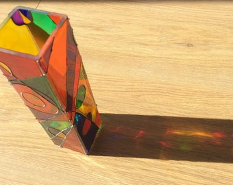 Hand painted multicoloured abstract glass vase, modern home decor