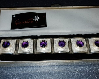ONE OF A KIND Taller (Oswaldo) Guayasamin Bracelet Sterling and Amethyst in Solid Sterling Box