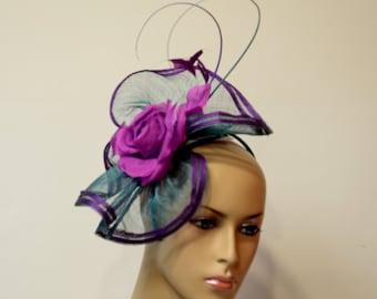 Teal/purple sinamay Fascinator, Kate Middleton Style Fascinator, Kentucky Derby Fascinator, English Royal Hat,Wedding,Formal,Dressy ,Church