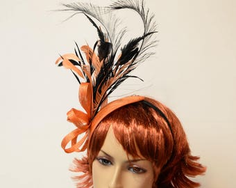 Sinamay fascinator with feather