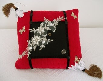 Red velvet cushion/Pillow,gift for Mom,Red velvet boudoir cushion,bespoke cushion,art cushion,shabby chic cushion,luxury gift,home decor