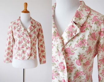 60s Pink Cream Floral Paisley Cropped Jacket - Double Breasted Short Jacket - Size Medium/Large