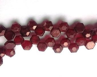 Honeycomb Jewel Ruby Wine 2-Hole Czech Glass Beads 6mm, qty 30 beads