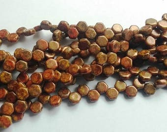 Hodge Podge Honeycomb Orange Bronze, Hex 2-Hole Beads Czech Glass 6mm, 699994-15695 30 beads
