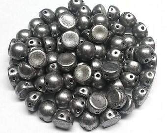 Saturated Metallic SharkSkin, 2 hole Cabochon Czech Glass Beads 6.5mm x 5.5mm, 20 Beads 77053