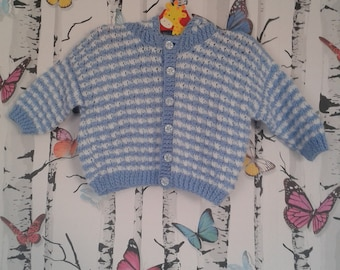 Boys Hoody, Hooded Cardigan, Knitted Cardigan, 6 - 9 Months, Baby Boy, Baby Boy Gift, Handmade, Hand Knitted