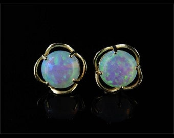 Opal Solitaire Gold Stud Earrings 2ct Opal