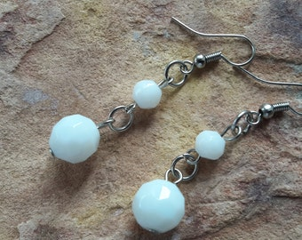 Simple white silver small dainty modern fashion  trendy elegant minimalist beaded handmade wedding bride  spring summer drop dangle earrings