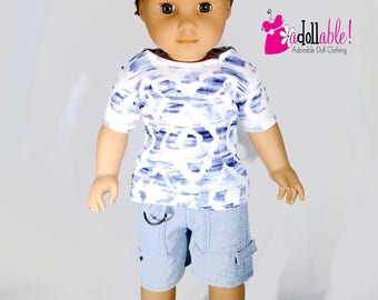 American made Boy Doll Clothes, 18 inch Boy Doll Clothing, boy doll tee shirt and cargo shorts made to fit like American girl doll clothes