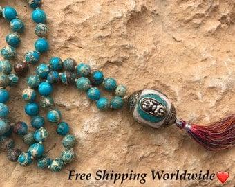 TurquoiseTibetan Jasper, Turqouise Necklace, 108 Mala Beads, Turqouise Mala Beads, Prayer Beads, Japa Mala, Yoga Jewelry, Meditation Beads