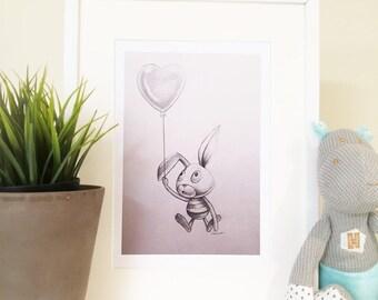Bunny Rabbit with Balloon sketch, Nursery art, Nursery Print, Black and white, Pencil Sketch