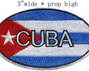 "Cuba Oval Iron On Patch 3"" inch Free Shipping  **Made in China**"