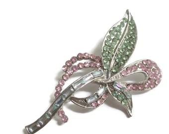Rhinestone Brooch, Vintage Pastel Flower, Leaf Pin, 1950s-1960s Jewelry, Mint Green, Pink