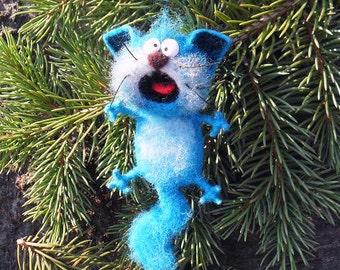 Singing cat, felt cat, blue,Toys, magnet or brooch, Felt doll, Handmade toys, Needle felting, Felt toys, toy, gifts, Gifts for her