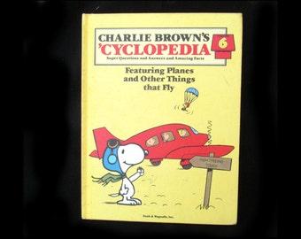 Charlie Brown book - charlie Brown cyclopedia - air plane book -   learning book - vintage children book -volume #6 -      # 13