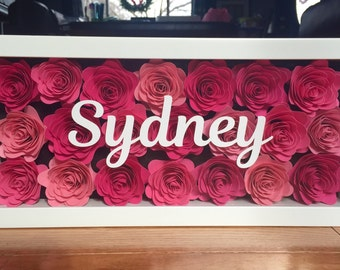 Shadow Box Flowers w/ Personalized Name - Pink