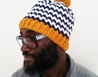 Pompom hat. Adult hat. Mens hat. Women's hat. Crochet hat. Mustard and navy hat. Chunky hat. Winter accessories. Striped hat. Handmade hat.