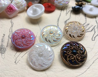5 large colorful collector / glass buttons - Art Nouveau pattern - hand painted knobs (147)