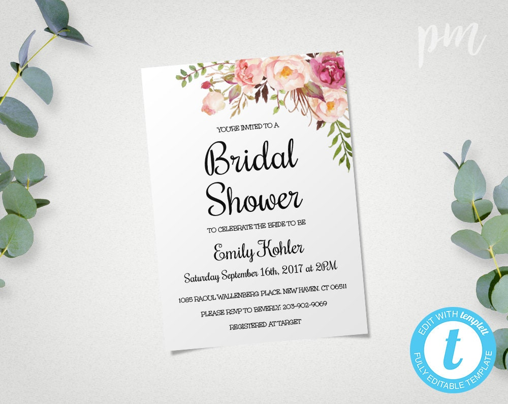 floral printable bridal shower invitation template bridal. Black Bedroom Furniture Sets. Home Design Ideas