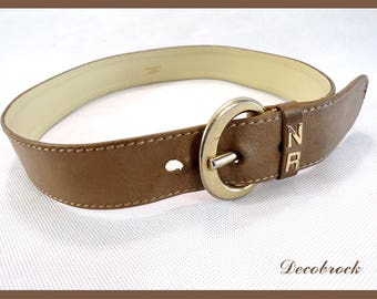 Authentic vintage brand leather belt Nina RICCI luxury leather goods Paris France vintagefr vintage couture paris