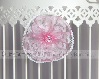 Flower Girl Bridal Bridesmaid Prom Lace Flower Pink faceted Beaded Hair Clip Wedding Accessories Corsage